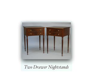 2 Drawer Nightstands with reeded legs, walnut, mahogany, cherry, tiger maple