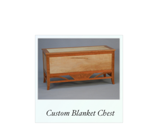 Custom Blanket Chest made of cherry and tiger maple curly maple