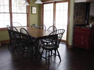 Clients Photo Cherry Dining Table with set of Windsor Chairs Doucette and Wolfe Furniture Makers